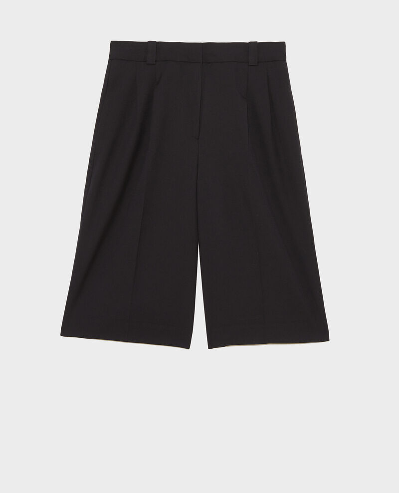High-waisted wide wool bermuda shorts Black beauty Mercal