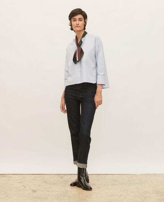Collarless shirt in cotton poplin HEATHER