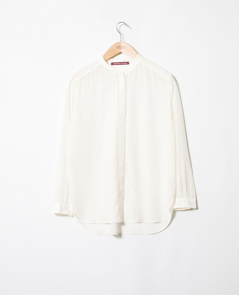 Blouse with lace detail Coconut milk Javant