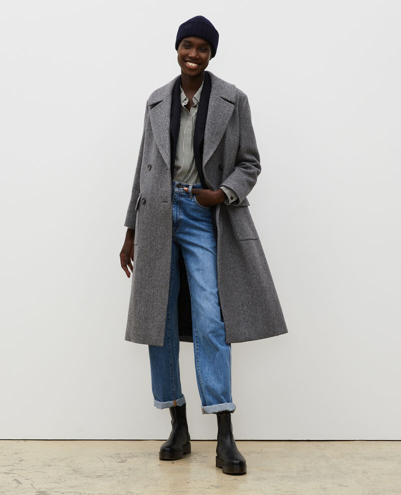 Oversize double-breasted wool overcoat Medium grey melange Massily