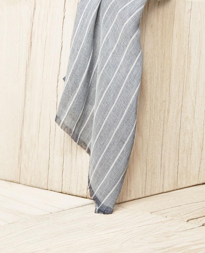 Linen blend scarf Blue jeans Icla