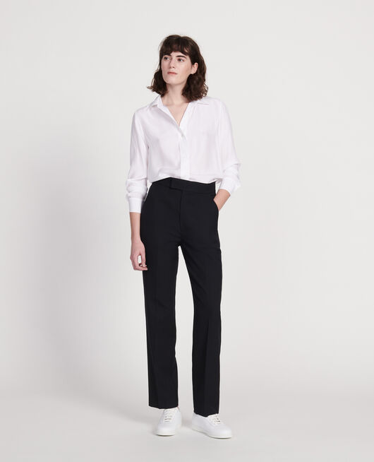 Smooth wool straight trousers BLACK BEAUTY