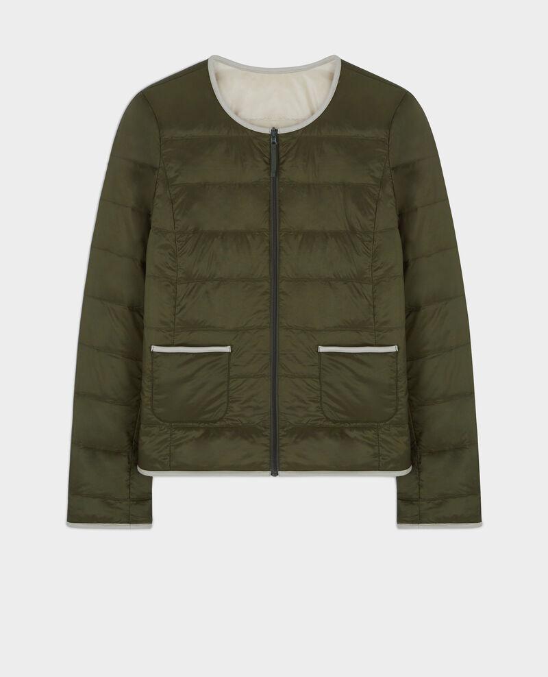 Pocketable reversible puffer jacket Black olive/linen Calao