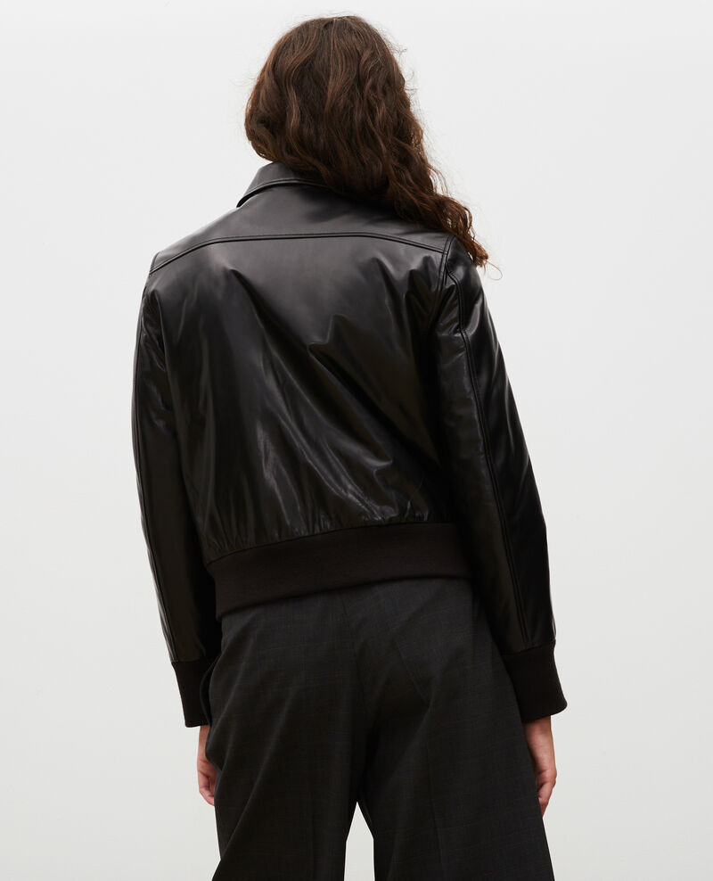 Lambskin zipped jacket. Black beauty Mettray