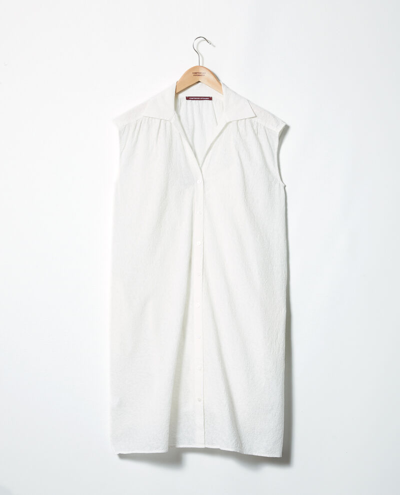 Embroidered cotton shirt dress Off white Illisme