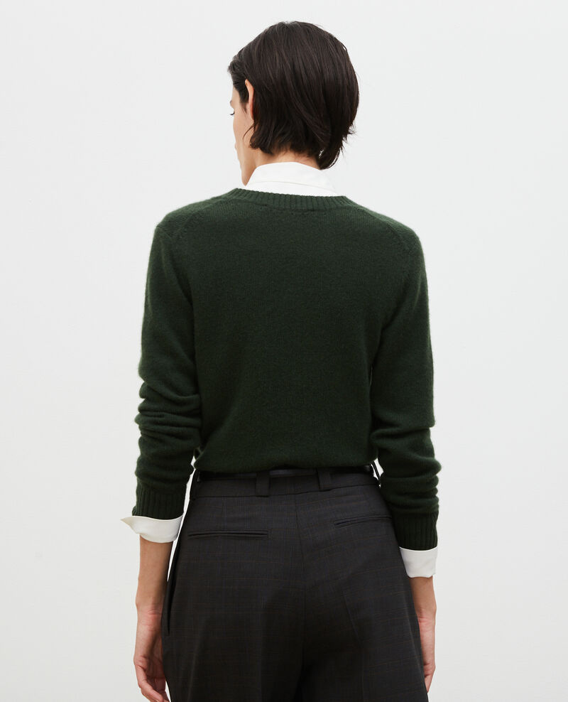 V-neck cashmere jumper Military green Millac