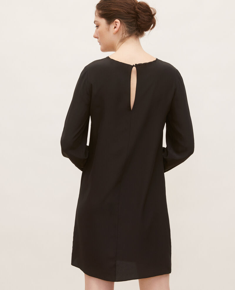 Loose mini silk dress. Black beauty Lamax