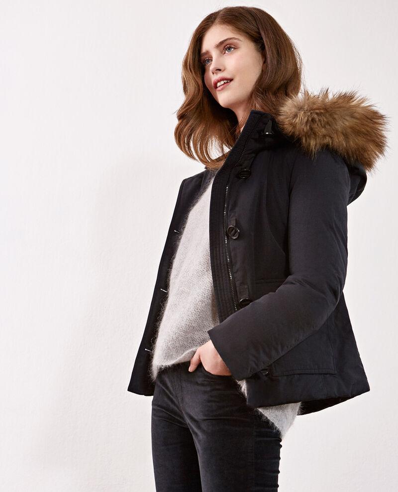 Down jacket with removable faux fur trim Noir Dasual
