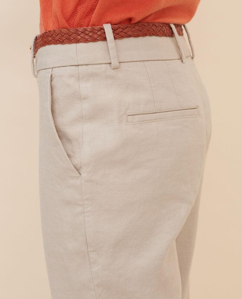 Linen and cotton 7/8 trousers Oxford tan Laiguillon