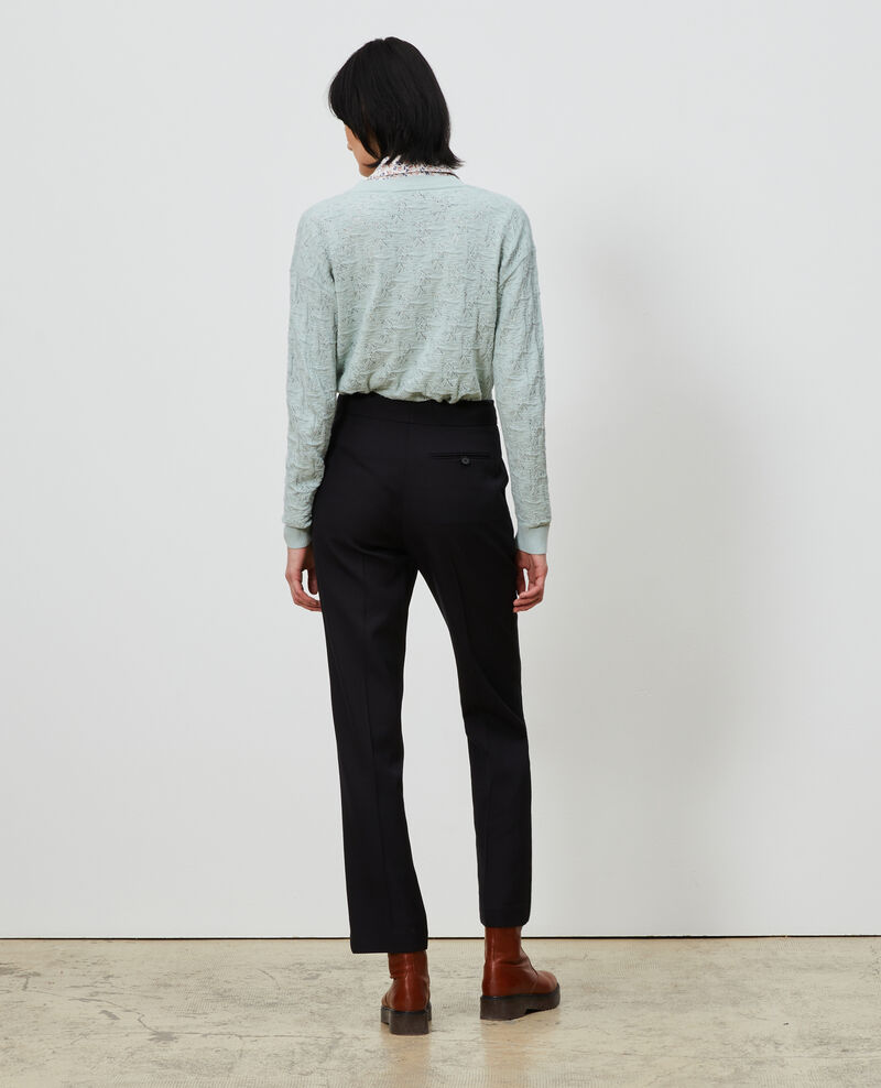 Straight wool boyfriend trousers MARCELLE Black beauty Lisabelle