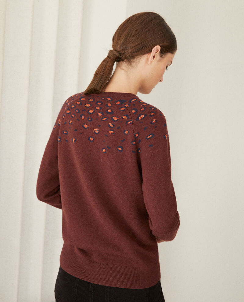 Printed jumper Bl deep mahogamy Gleopard