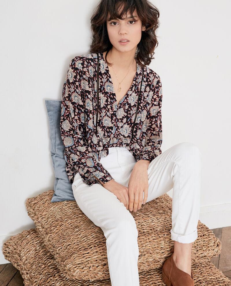 Printed silk blouse Darjeeling black Francesca
