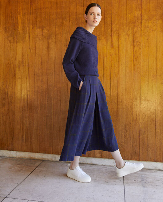 Flared culotte skirt Blue