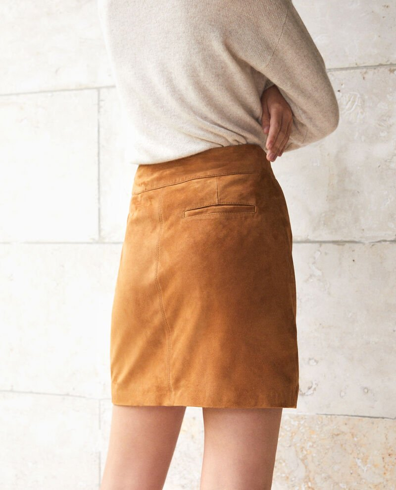 Suede pencil skirt Yellow Georgiane