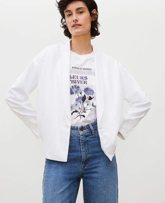 Loose polyester blazer OPTICAL WHITE