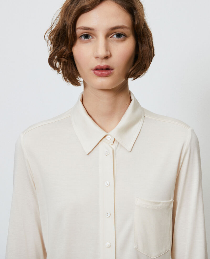 Silk jersey shirt Buttercream Leanor