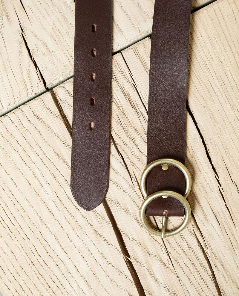 Twin buckle leather belt Dark burgundy Idoublo