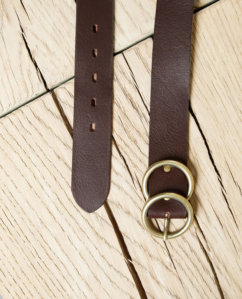 Twin buckle leather belt Dark burgundy Idoublo