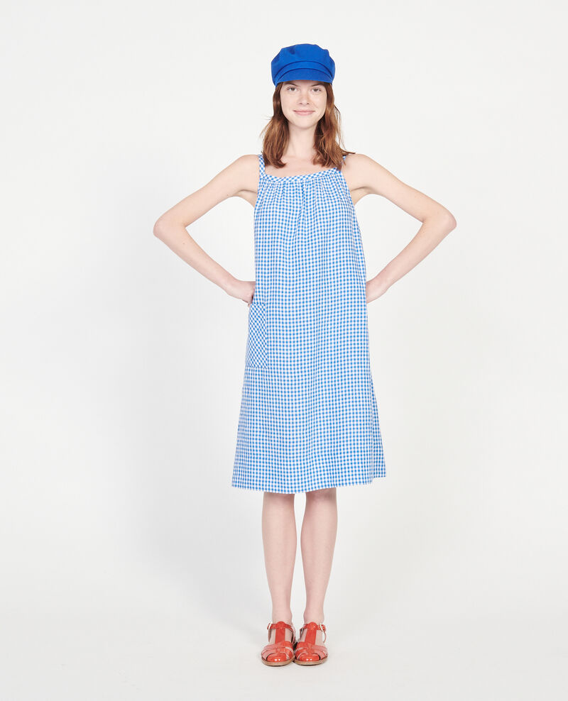 Cotton dress Vichy princess blue gardenia Lunel