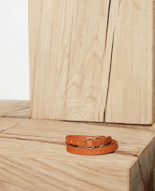 Leather belt CAMEL