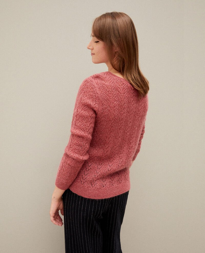 Jumper with mohair and lurex Earth red Gigogne