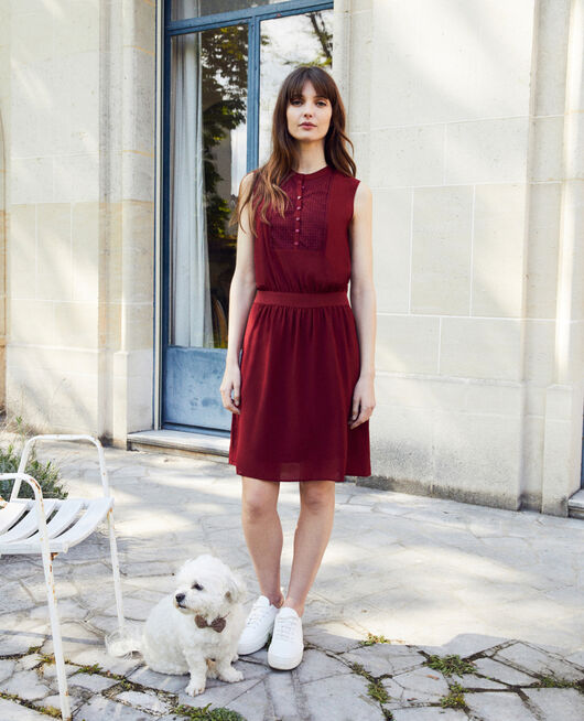 Silk dress with lace shirt front CABERNET
