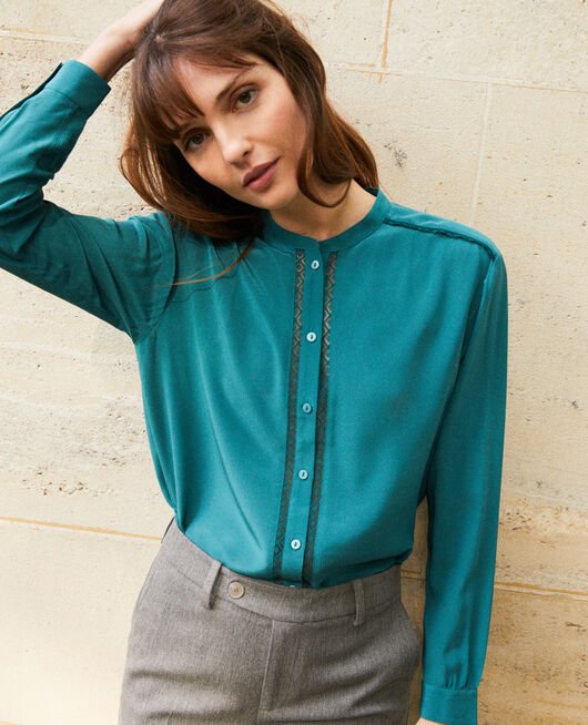 Blouse with lace detail MEDITERANEA