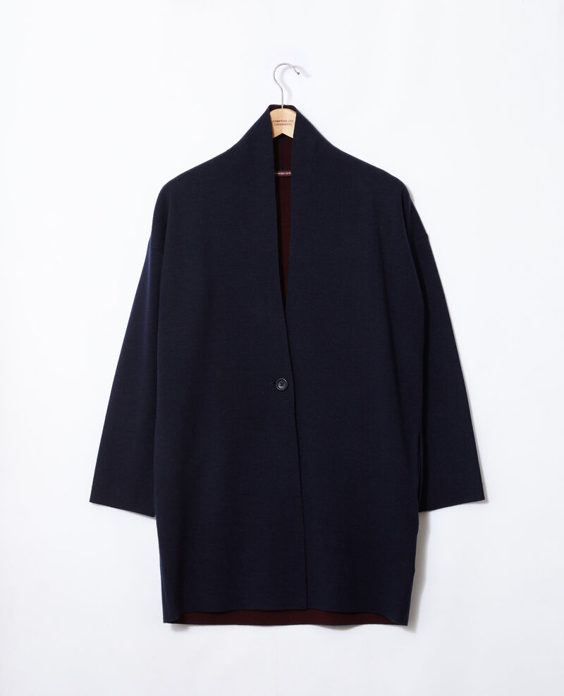 Cardigan with double face wool Blue Gregor