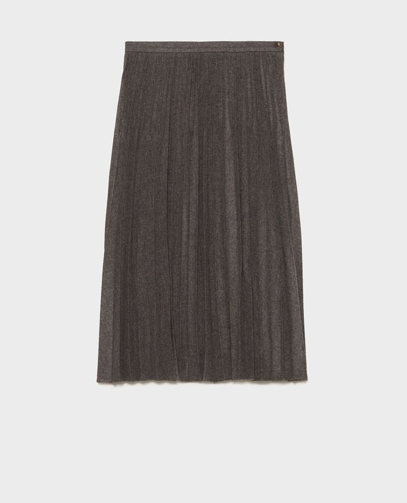 Pleated wool skirt Medium grey melange Mareille
