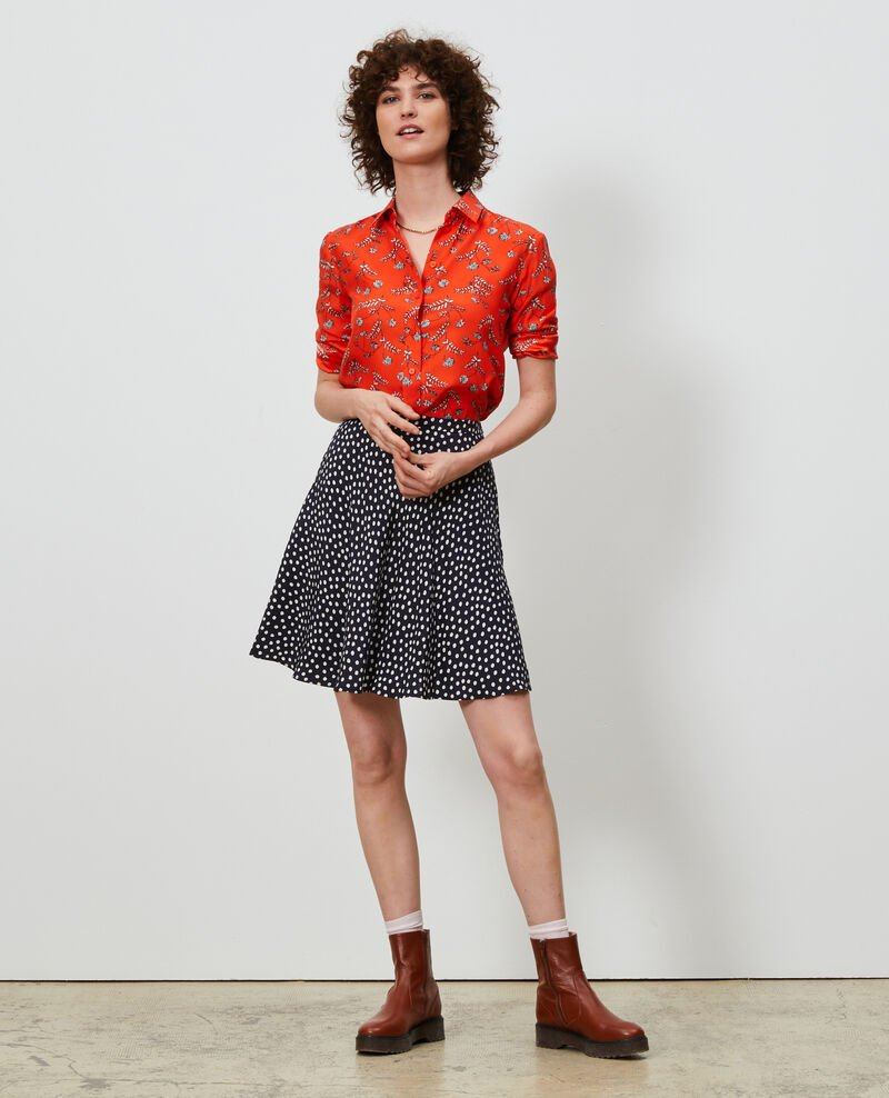 SIBYLLE - Printed silk shirt Coronille spicy Nabilo