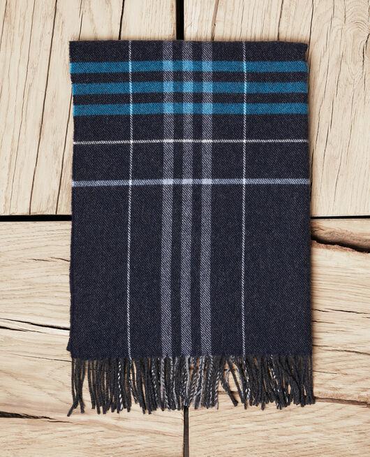 Tartan-print scarf BLEU