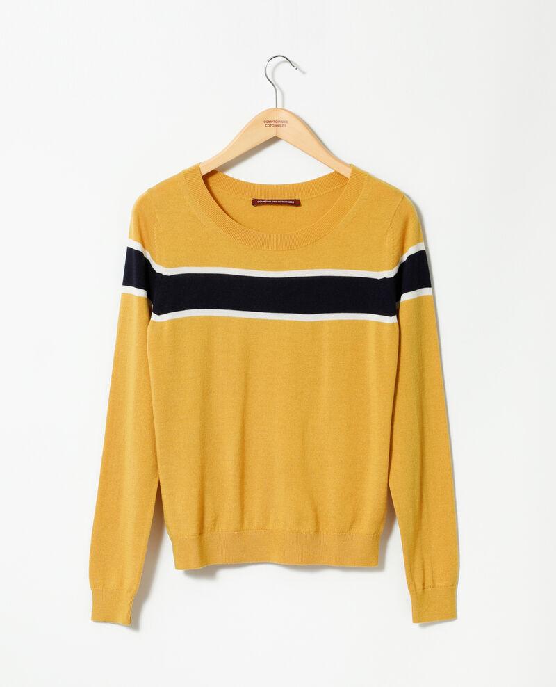 Merino wool cardigan Golden spice/peacoat/off white Gengoux