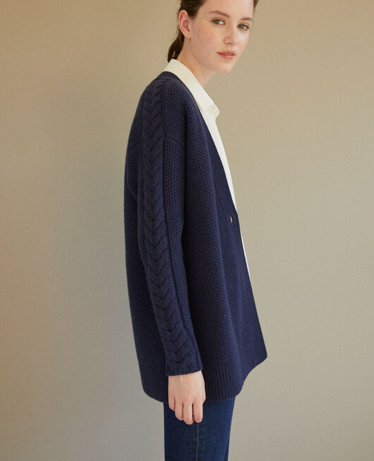 Cardigan with braiding details Blue