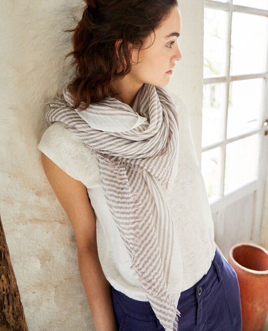 Striped scarf BLANC/PURPLE