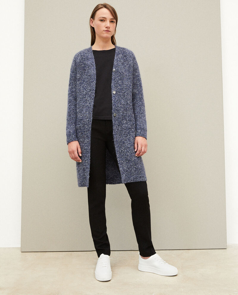 Mohair blend long cardigan Blue Galex