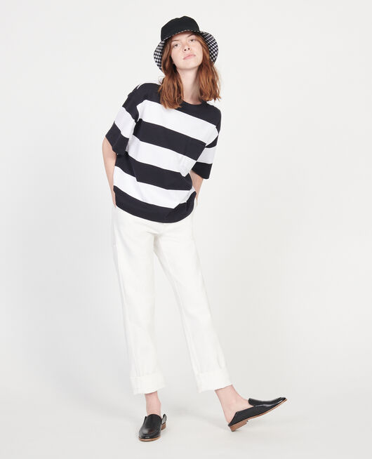 Mercerised cotton oversize striped t-shirt STR OPTICALWHITE BLACK