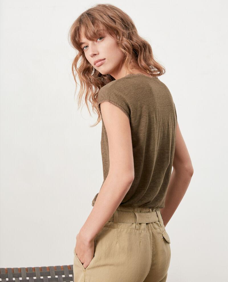 Linen T-shirt Dark kaki Fevian