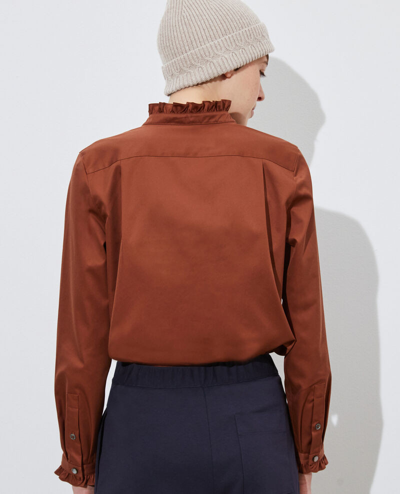 Ruffled high collar cotton shirt Tortoise shell Marcenat