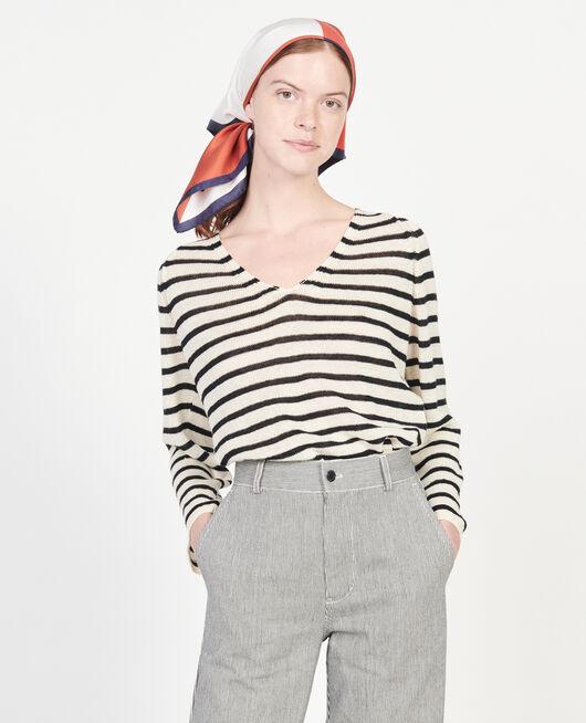 Linen T-shirt STRIPES BUTTERCREAM BLACK