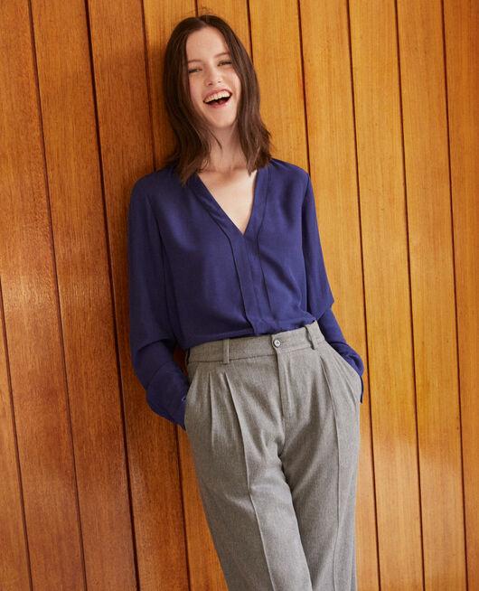 V-neck blouse MEDIEVAL BLUE