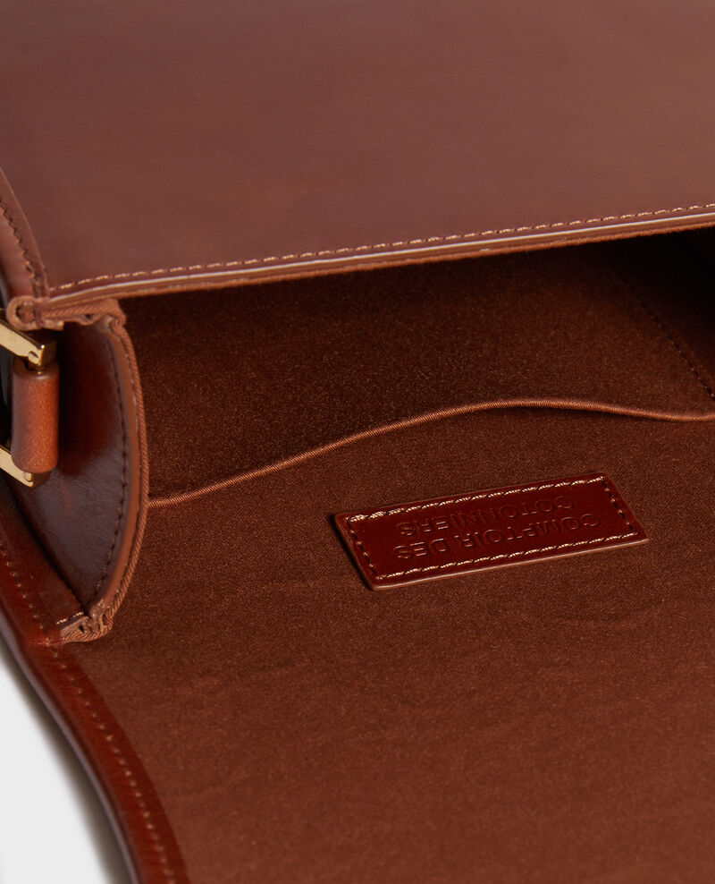 Small vintage-style leather messenger bag Pumpkin spice Neveu