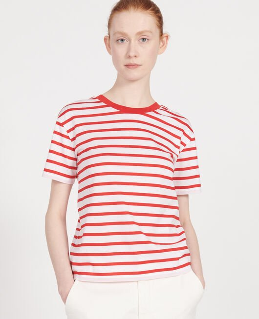 Cotton t-shirt STRIPES OPTICAL WHITE FIERY RED