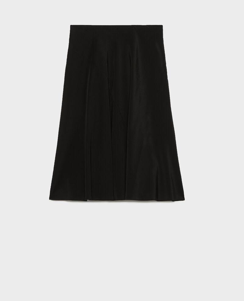 Flared silk bias-cut skirt Black beauty Lido
