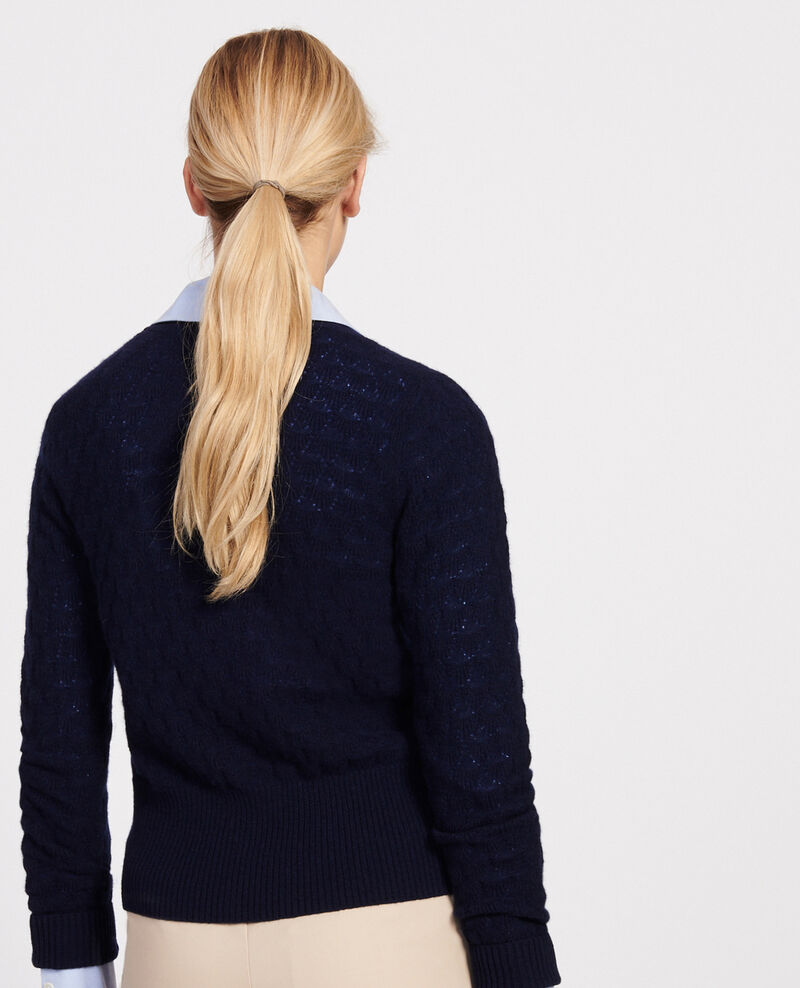 V-neck cardigan, 100% cashmere  Maritime blue Licate