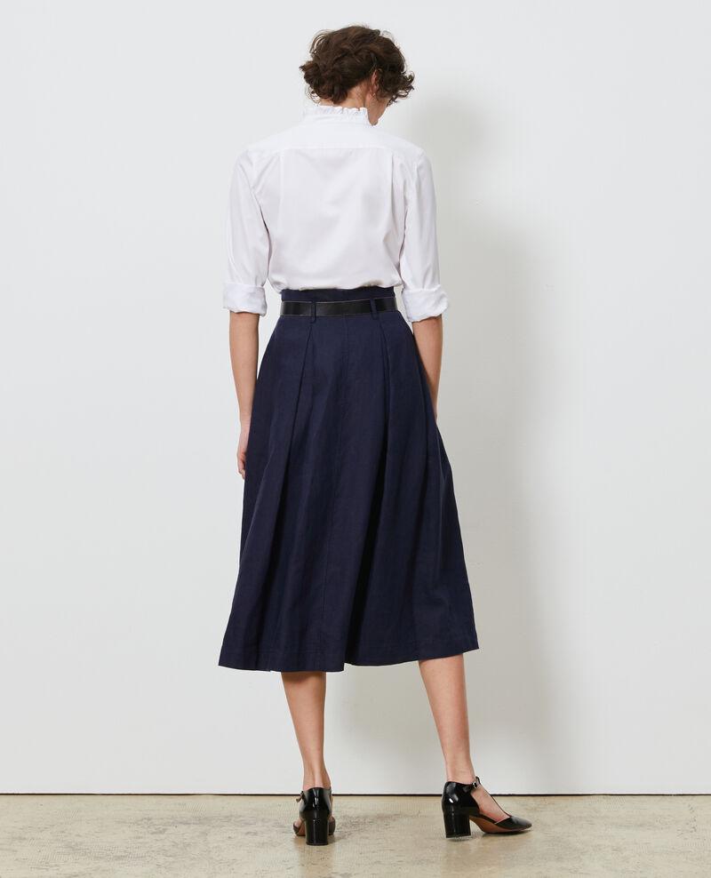 Mid-length linen skirt Maritime blue Lorlange