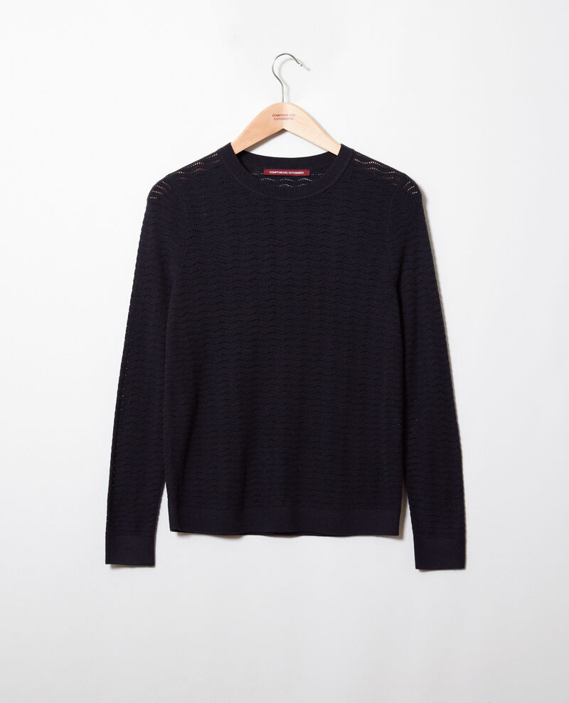 Novelty knit jumper 100% Merino Wool Noir Jikael