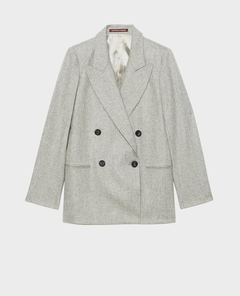 Double-breasted wool blazer Light grey melange Muciane