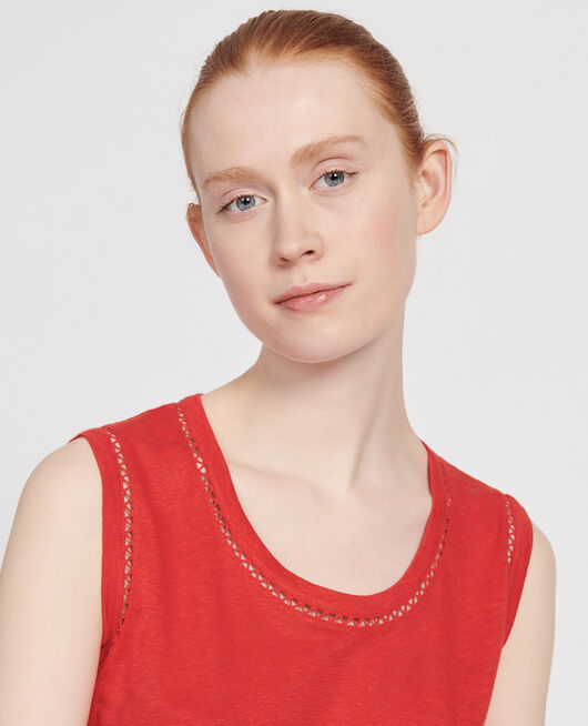 Linen jersey tank top FIERY RED