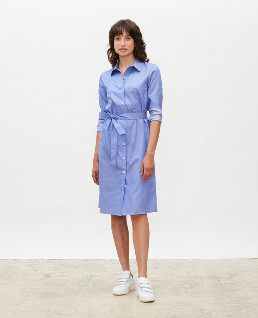 Cotton belted shirt dress BLUE AS PROTO