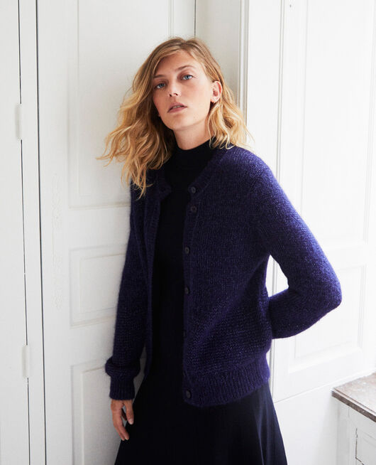 Cardigan with shiny lurex thread EVENING BLUE